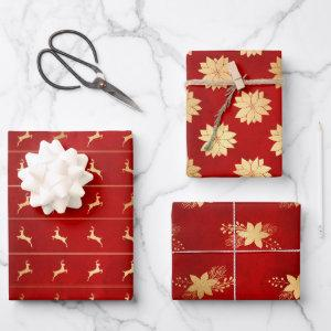 Christmas Gold Red Deer Floral Glam Graphic  Sheets