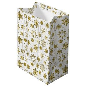 Christmas Gold Snowflakes Medium Gift Bag