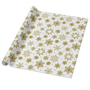 Christmas Gold Snowflakes Wrapping Paper