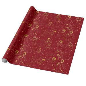Christmas golden angels on deep red wrapping paper