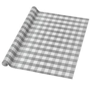 Christmas Grey White Watercolor Buffalo Check Gift Wrapping Paper