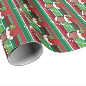 Christmas Hat Football Sport Stripes Wrapping Paper