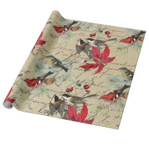 Christmas Holiday Bird and Red Poinsettia Wrapping Paper