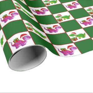 Christmas Holiday dinosaur pattern party wrap Wrapping Paper