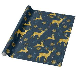 Christmas Holiday - Gold Deer on Navy Background Wrapping Paper