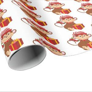 Christmas Holiday monkey tiled party wrap Wrapping Paper
