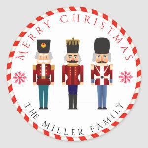 Christmas Holiday Nutcracker Trio Classic Round Sticker