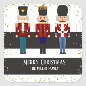 Christmas Holiday Nutcracker Trio Square Sticker