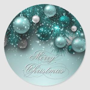 Christmas Holiday Ornaments - Teal - Customize Classic Round Sticker