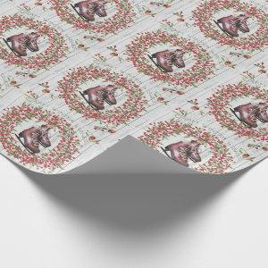 Christmas Holiday Rustic Wreath and Skates Wrapping Paper