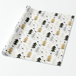 Christmas Holiday - Trees and Snowflakes Wrapping Paper