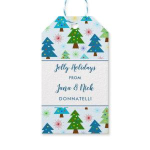 Christmas Holiday Trees Starbursts Festive Family Gift Tags