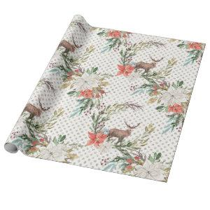 Christmas Holiday - Watercolor Deer & Pointsettia2 Wrapping Paper