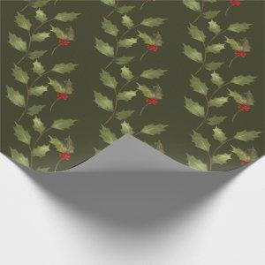 Christmas Holiday Watercolor Vintage Holly Branch Wrapping Paper