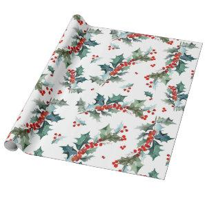 Christmas Holly and Berries Pattern Wrapping Paper