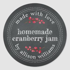 Christmas Homemade Cranberry Jam Chalkboard Classic Round Sticker