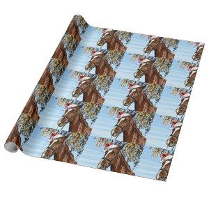 Christmas horse with hat wrapping paper