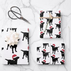 Christmas Labrador Black Dog In Santa Hat Wrapping Paper Sheets