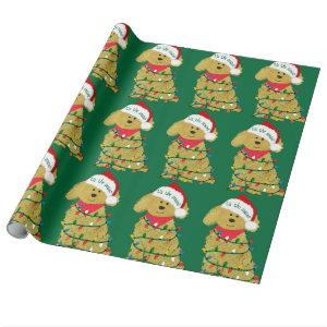 Christmas Lights Goldendoodle Wrapping Paper