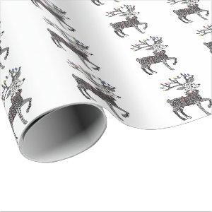Christmas Lights Reindeer Wrapping Paper