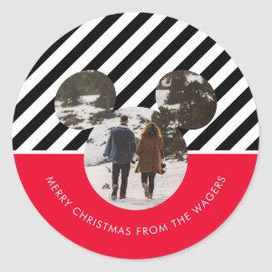 Christmas Mickey Mouse Red & Black Family Photo Cl Classic Round Sticker