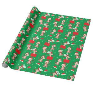 Christmas Monkey Santa Hat Pattern Red Green Wrapping Paper