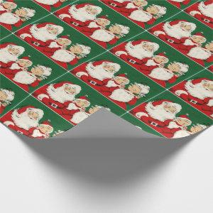 Christmas Mr. & Mrs. Santa Claus Vintage Red Green Wrapping Paper