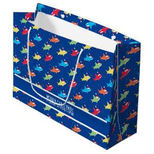 Christmas Multicolor Sharks Cute Large Gift Bag