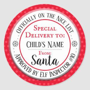 Christmas Nice List Official Custom Name Classic Round Sticker