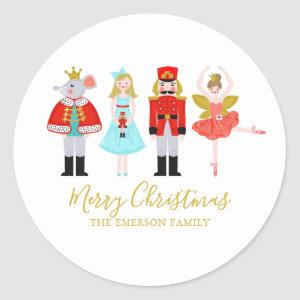 Christmas Nutcracker Character Illustrations Classic Round Sticker