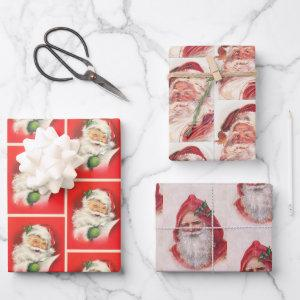 Christmas Old Style Vintage Santa Claus Pattern Wrapping Paper Sheets