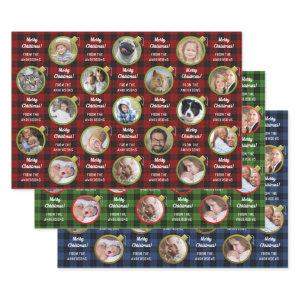 Christmas Ornament Plaid Custom Text Photo Collage Wrapping Paper Sheets