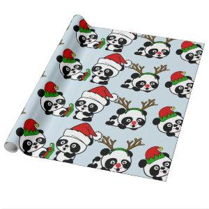 Christmas Pandas Wrapping Paper