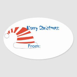 Christmas Party Sharks Hat Gift Tag Sticker