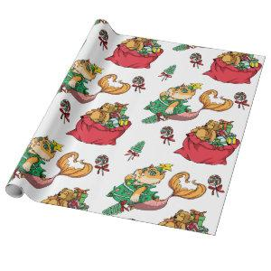 Christmas Pattern Funny Mermaid Cat Wrapping Paper