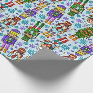 Christmas Pattern With Nutcracker And Snowflakes Wrapping Paper
