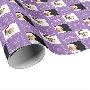 Christmas Personalized Photo Template Purple Wrapping Paper