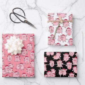 Christmas Pigs In Santa Hats Cute Wrapping Paper