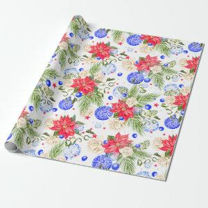 Christmas Poinsettia Rose & Blue Ornaments Wrapping Paper