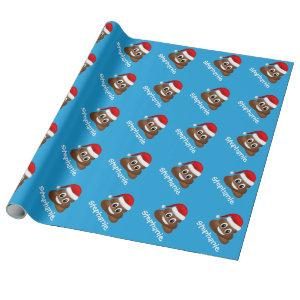 christmas poo emoji with santa hat wrapping paper