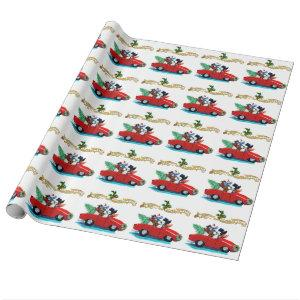 Christmas Poodles Vintage Car Wrapping Paper