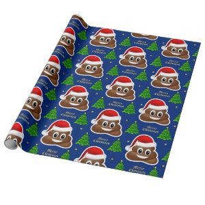 christmas poop emoji with santa hat wrapping paper
