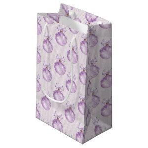 christmas purple bulbs pattern party bag
