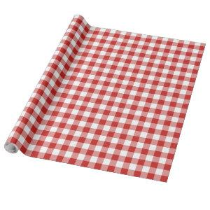 Christmas Red and White Buffalo Plaid Wrapping Paper