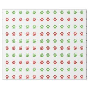Christmas Red & Green Pet Paw Print Pattern Wrapping Paper