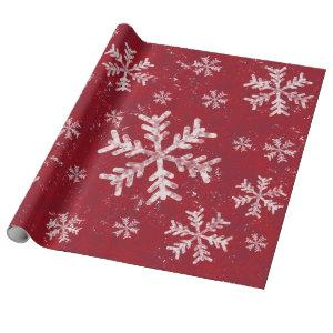 Christmas Red Holiday White Snowflake Rustic Wrapping Paper