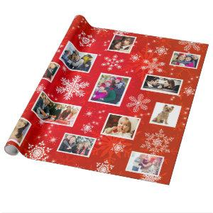 Christmas Red Snowflakes 15 Favorite Family Photos Wrapping Paper