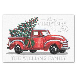 Christmas Red Vintage Truck Family Name Tissue Paper