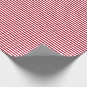 Christmas Red White Simple Stripes Wrapping Paper