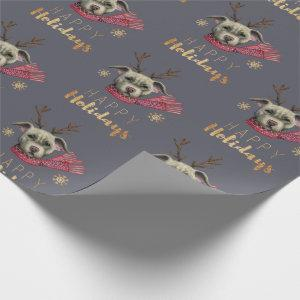 Christmas Reindeer Dog Pattern | Happy Holidays Wrapping Paper